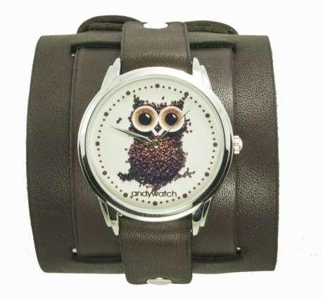 Купить наручные Часы Сова из кофе Andywatch в Киеве и Украине с кожаным ремешком